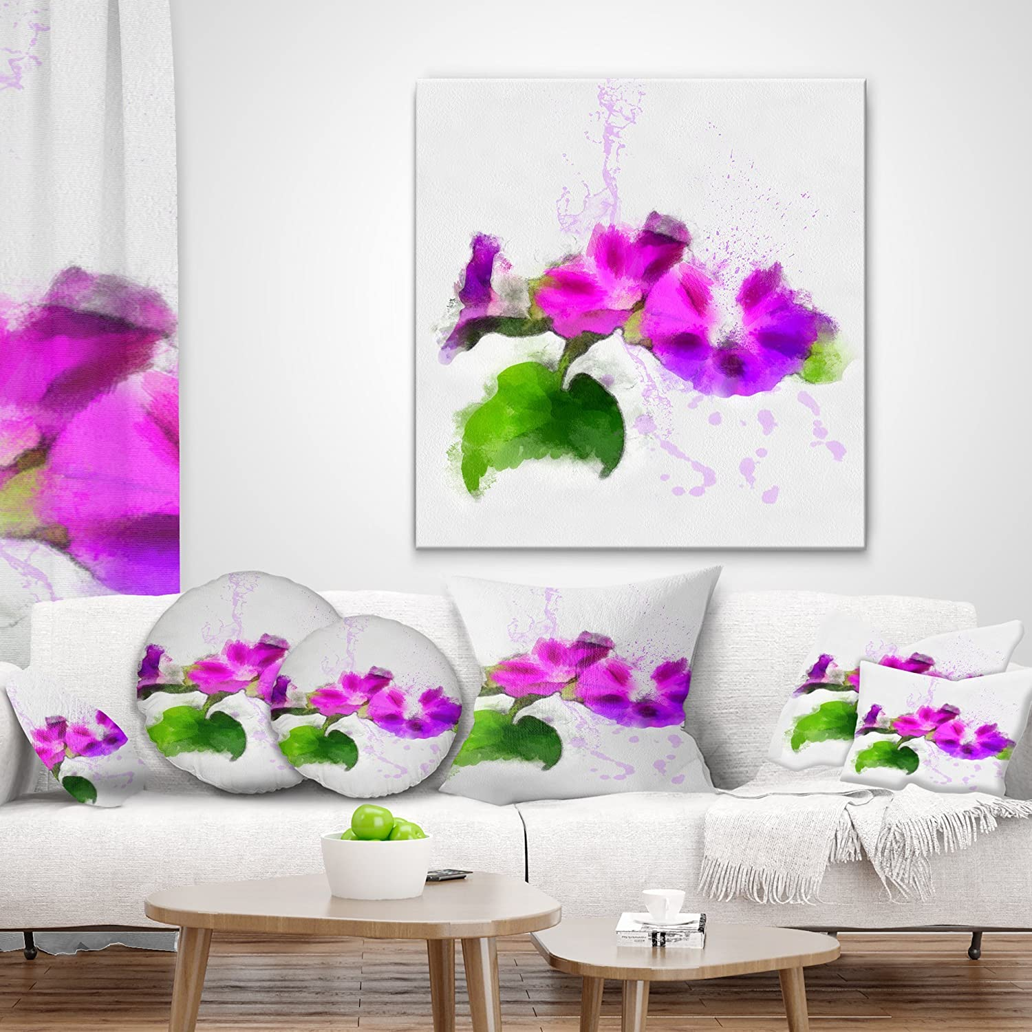 Sofa 18 x 18 Designart CU13733-18-18 Stem of Convolvulus Flower Drawing Floral Throw Cushion Pillow Cover for Living Room