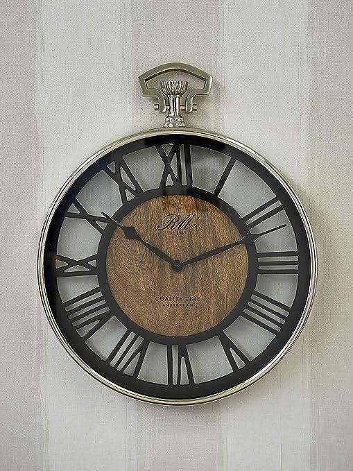 Riviera Maison Quality Time Clock Wanduhr Holz Metall