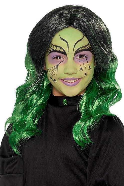 Smiffys 49120 - Peluca de bruja para niños, talla única, color negro y verde