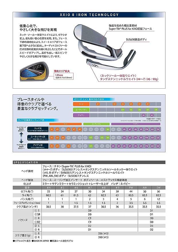 Xxio Golf Japón Xxio ocho xxio8 # 5,6,7,8,9, PW, AW, SW ...