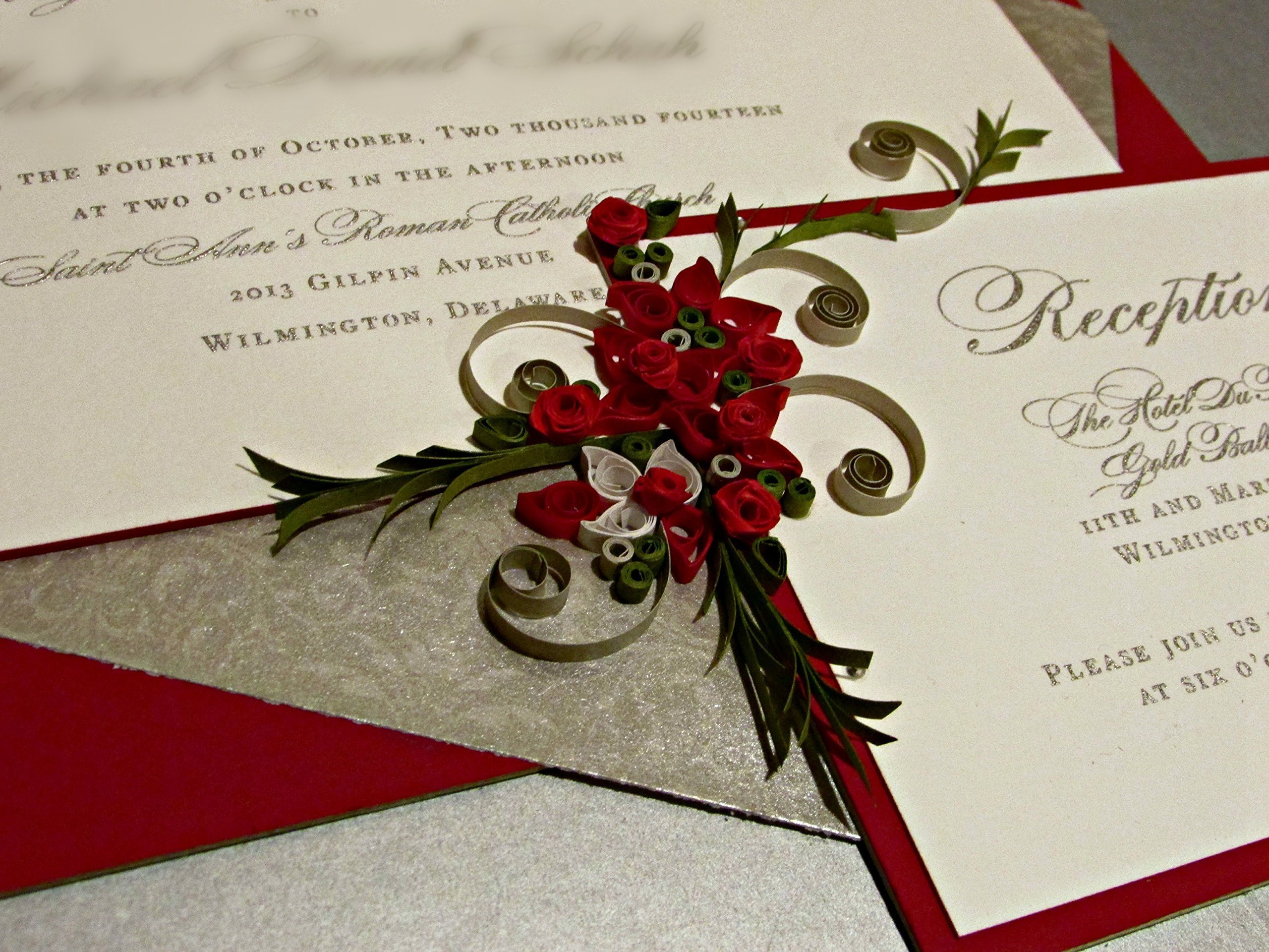 Custom Wedding Gift / Quilled & Framed Wedding Invitation / Paper Quilled Art / Red / Roses / PLATINUM WEDDING by Quillique