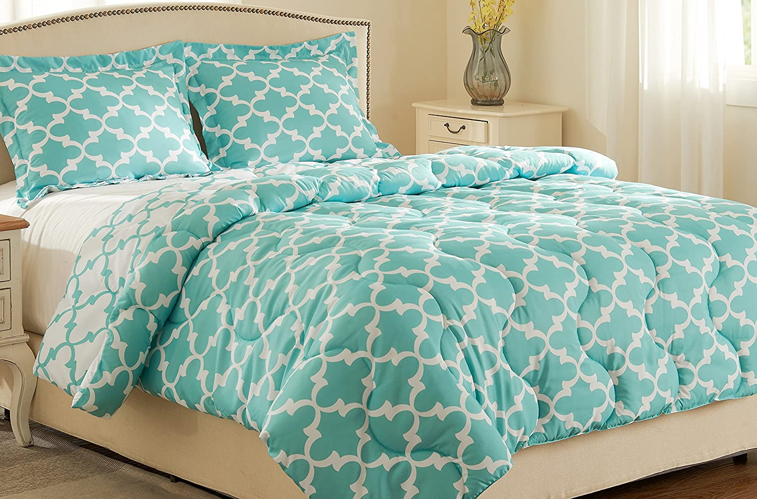 Millihome Back to school Lightweight Printed Luxurious Soft Brushed Microfiber Down Alternative Reversible Comforter Set
