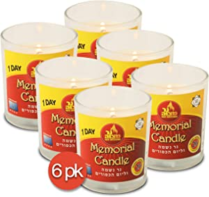 Ner Mitzvah 1 Day Yahrtzeit Candle - 6 Pack - 24 Hour Kosher Memorial and Yom Kippur Candle in Glass Jar