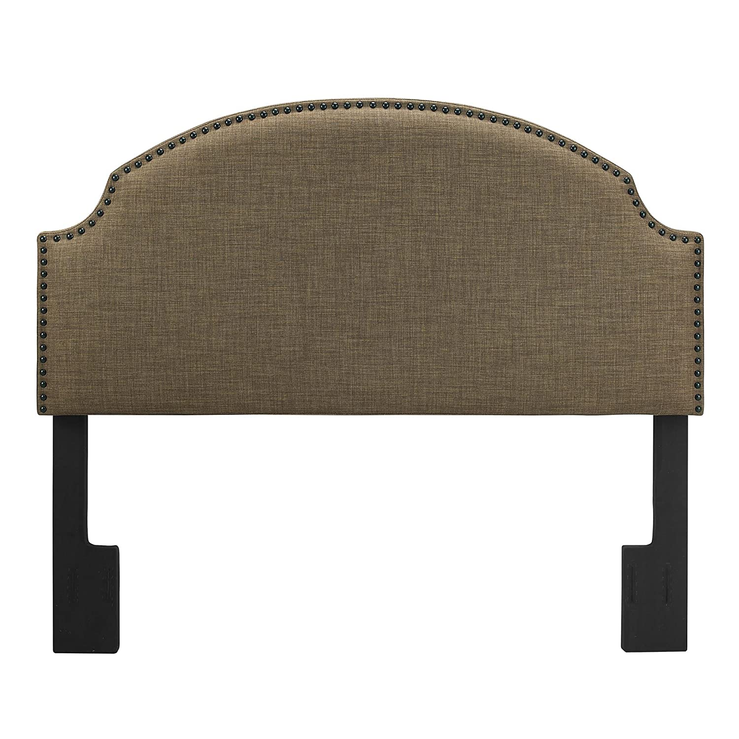Amazon.com: Dorel Living Skylar Nailhead Linen Padded Headboard ...