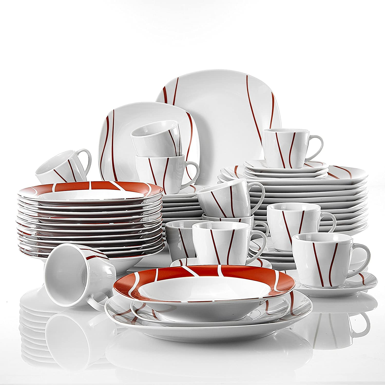 MALACASA 12 Assiettes Plates Plat pour 12 Personnes 60pcs Services de Table Complets Porcelaine Série Felisa 12 Tasses 12 sous-Tasses 12 Assiettes à Dessert,12 Assiettes à Soupe Creuse