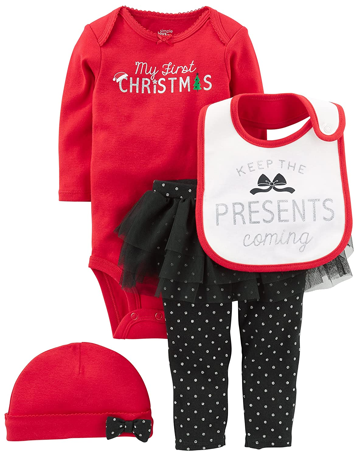 24436416f Celebrate baby\'s first Christmas in this coordinating four-piece set  featuring a long-sleeve bodysuit, polka dot tutu pants, a knit hat, and a  festive bib.