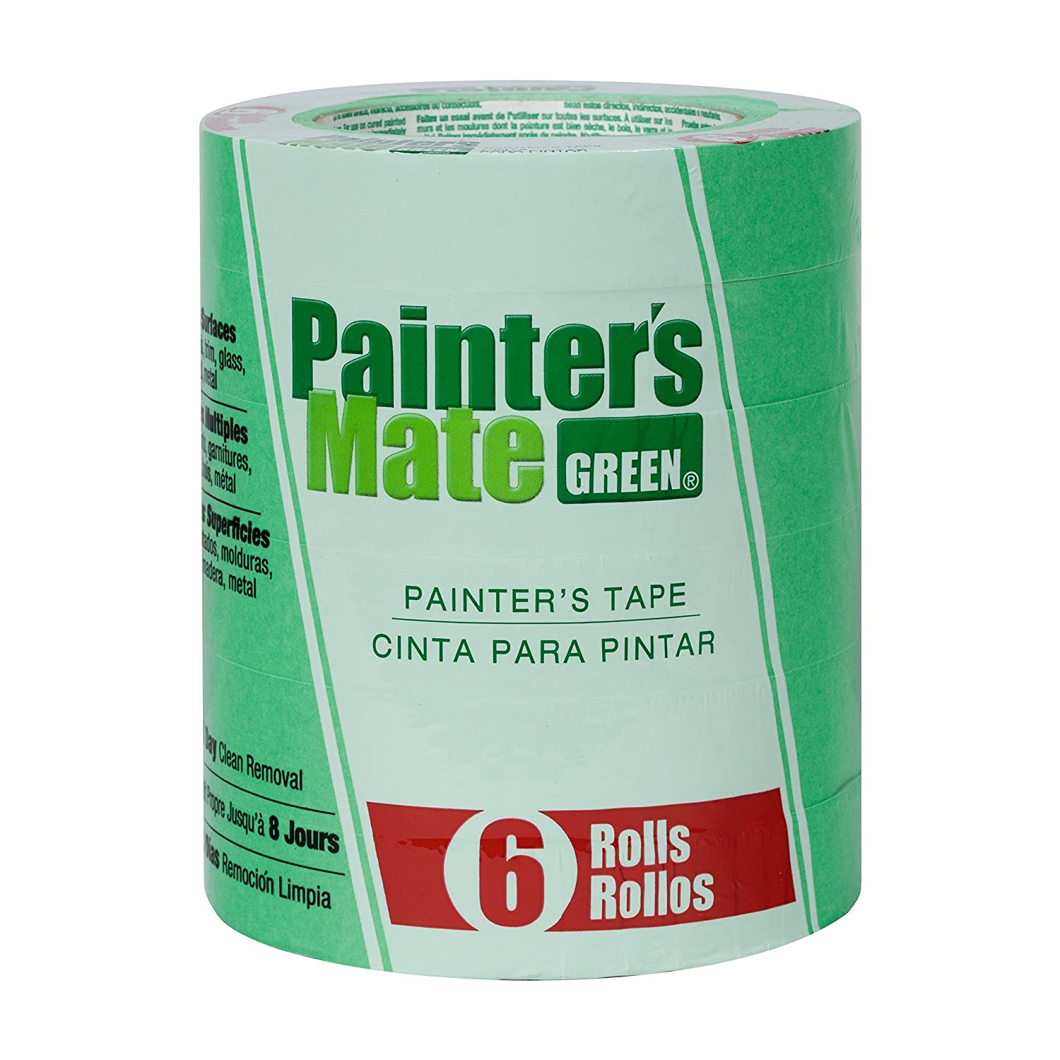 Painter's Mate 668840 Green 8-Day Painting Tape, 0.94-Inch by 60-Yard, 6-Pack of Rolls