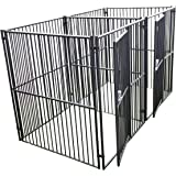 Dog Kennel - Lucky Dog Side By Side Box Kennel - This Welded Animal Enclosure is Perfect For Medium to Large Dog Breeds