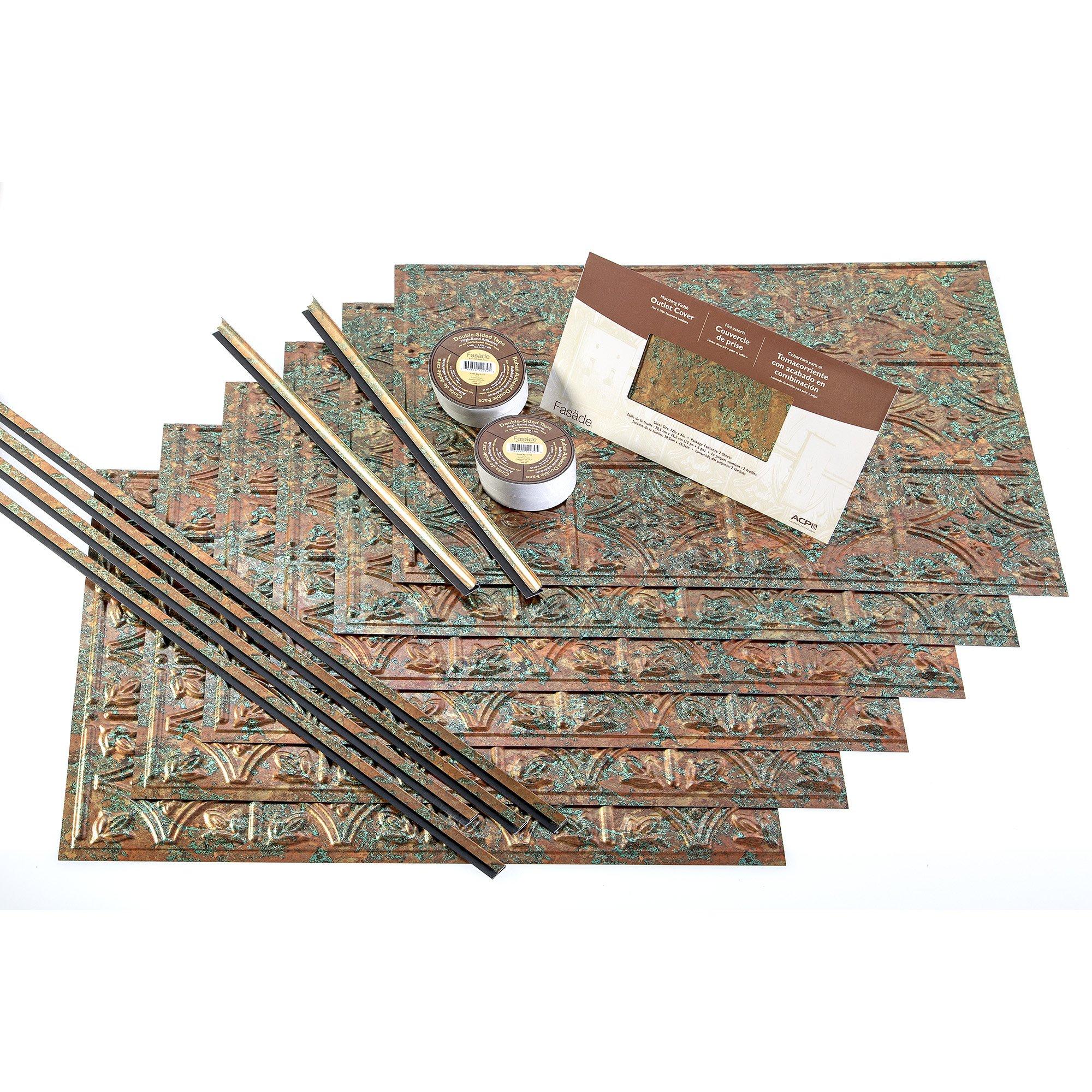 FASÄDE Easy Installation Traditional 1 Copper Fantasy Backsplash Panel for Kitchen and Bathrooms (18 sq ft Kit)