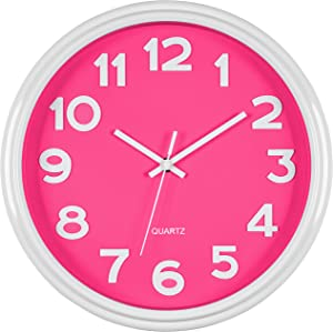 Bernhard Products Pink Wall Clock 12.5 Inch Silent Non-Ticking Modern Stylish Quartz Clocks for Home Kitchen Office Bedroom Girl's Room Nursery Kids School Classroom Battery Operated, Easy to Read