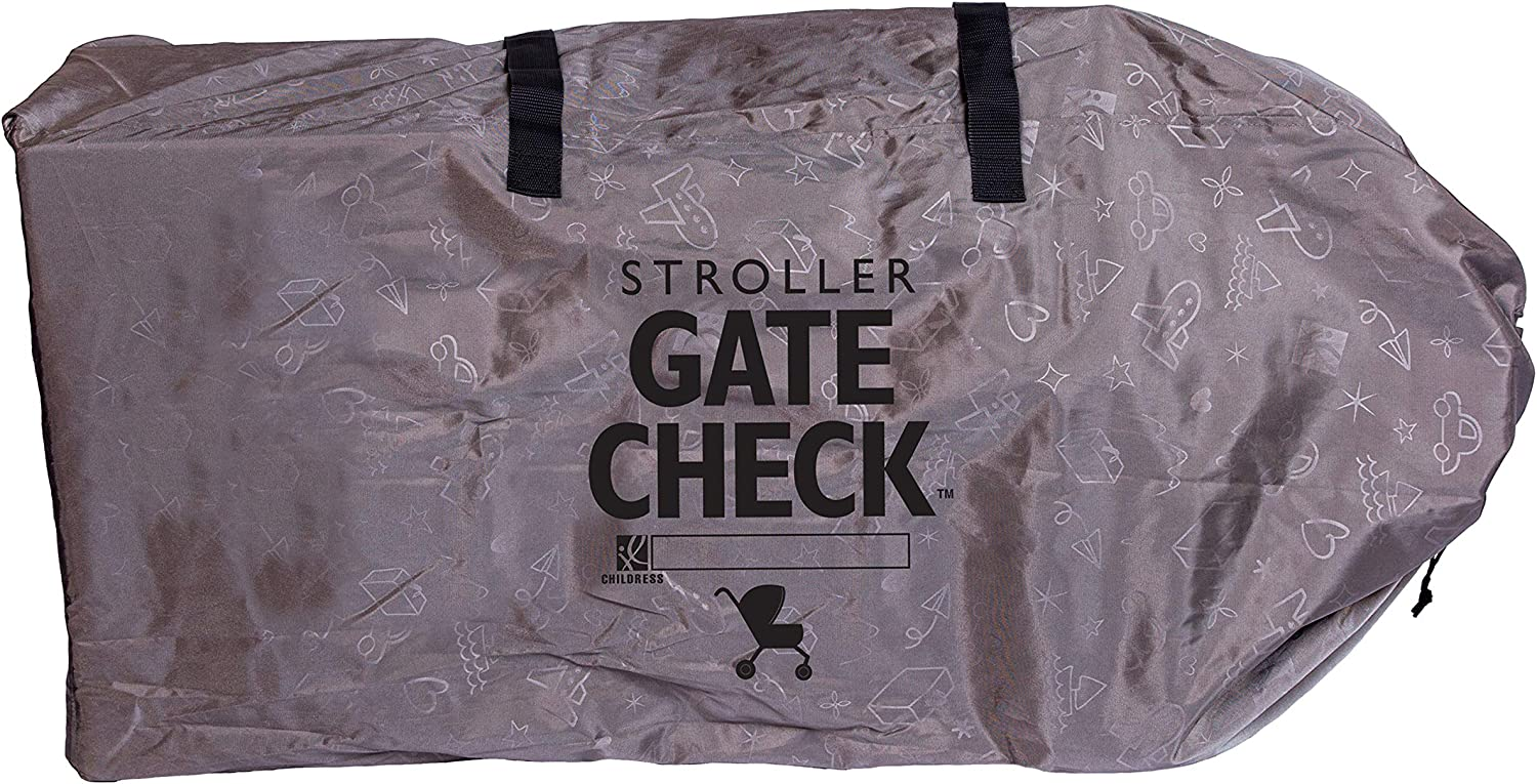 Premium Heavy-Duty Durable Air Travel Bag Grey Adjustable Shoulder Straps Fits Most Single /& Double Strollers Childress Deluxe Gate Check Bag for Single /& Double Strollers J.L