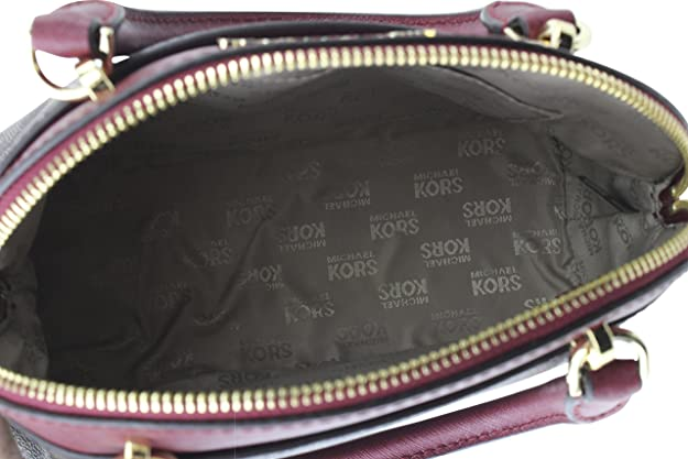 391fe45e38b8 Michael Kors EMMY Womens Shoulder Handbag SMALL DOME SATCHEL (Brown/cherry)  6911: Handbags: Amazon.com