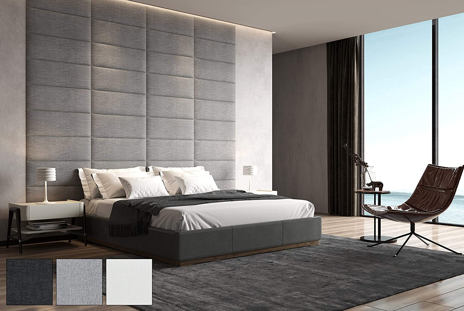 Art3d Padded Bed Headboard for Queen/Twin/King/Full-Removable-Sized 31.5x11.8inches Pack of 8pcs-Gray, Upholstered Wall Panels for Interior Wall Decor
