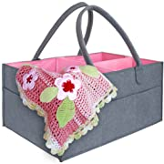 Luluna Pink & Gray Baby Gift Basket for Girls   Diaper Caddy Organizer for Newborn Girls   Great Gift Idea for New Mother