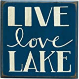 Primitives by Kathy Box Sign, Live Love Lake, 4 by 4-Inch