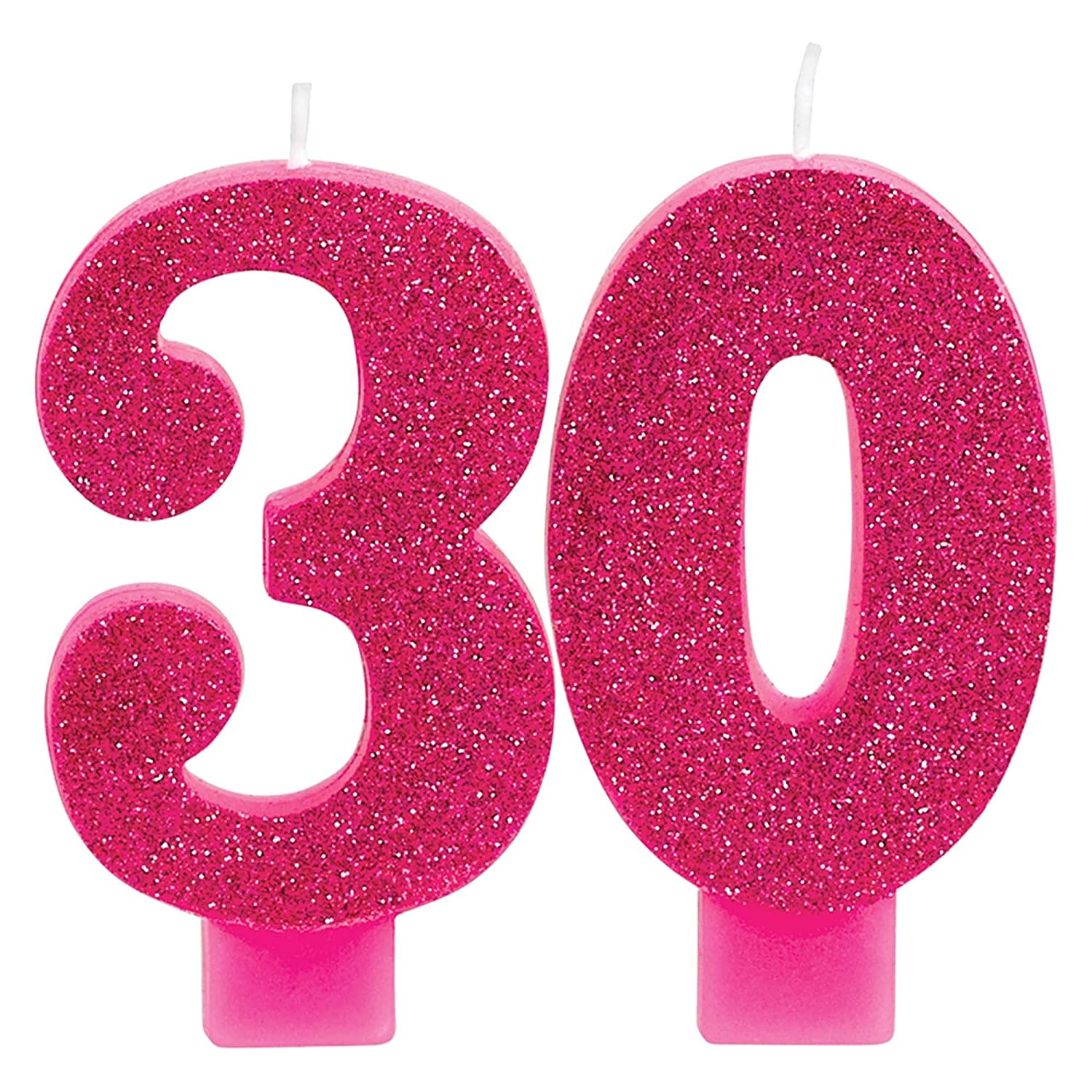 Amscan 171909 Pink and Gold Milestone 30 Numeral Candles 3 1//2 Multicolor