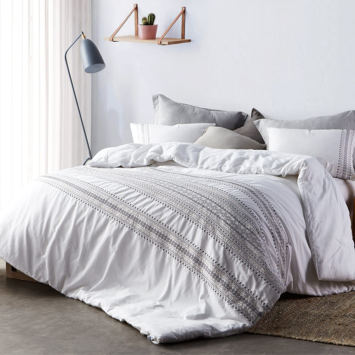byourbed cambria stitch embroidered king comforter oversized king xl white