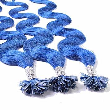 Hair2Heart 25 x 1g Extensiones de Queratina - 60cm - Corrugado, Color Azul: Amazon.es: Belleza