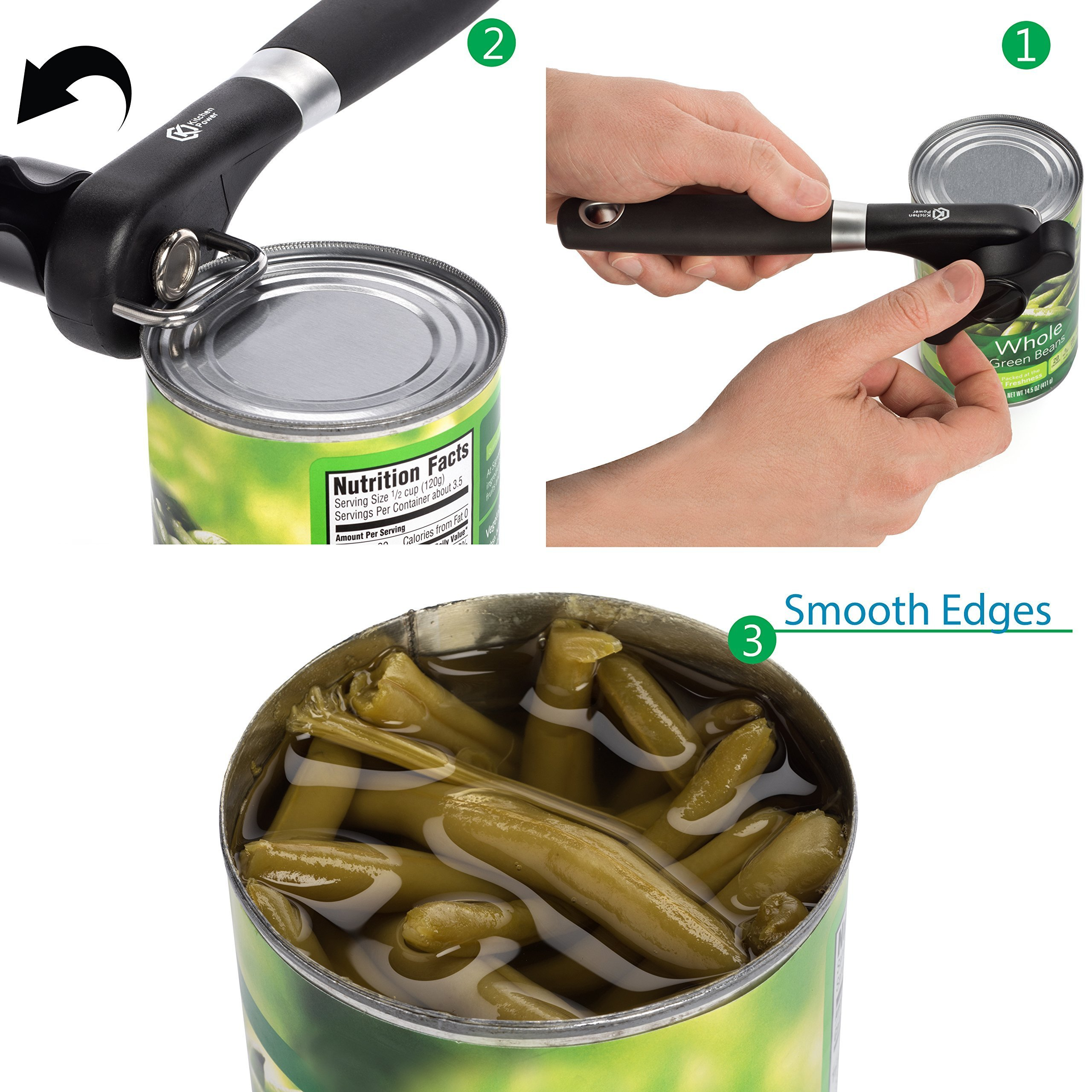 Kitchen Power Manual Food Safe Stainless Steel Can Opener with Ergonomic Non Slip Handle Sharp Cutting Wheel for Smooth Edges-Portable Lid Lifter by Kitchen Power (Image #3)