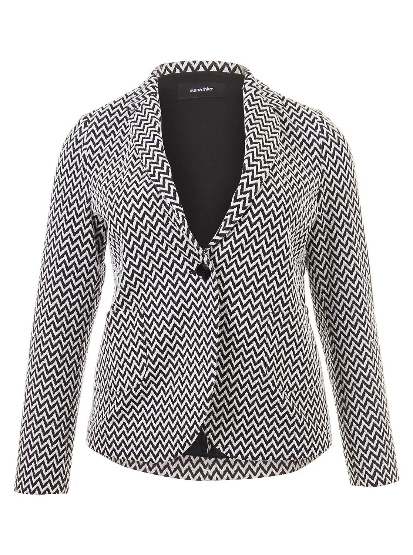Blazer mit Zick-Zack-Muster in schwarz/weiß in Übergrößen (44, 46, 48, 50, 52) von Elena Miro