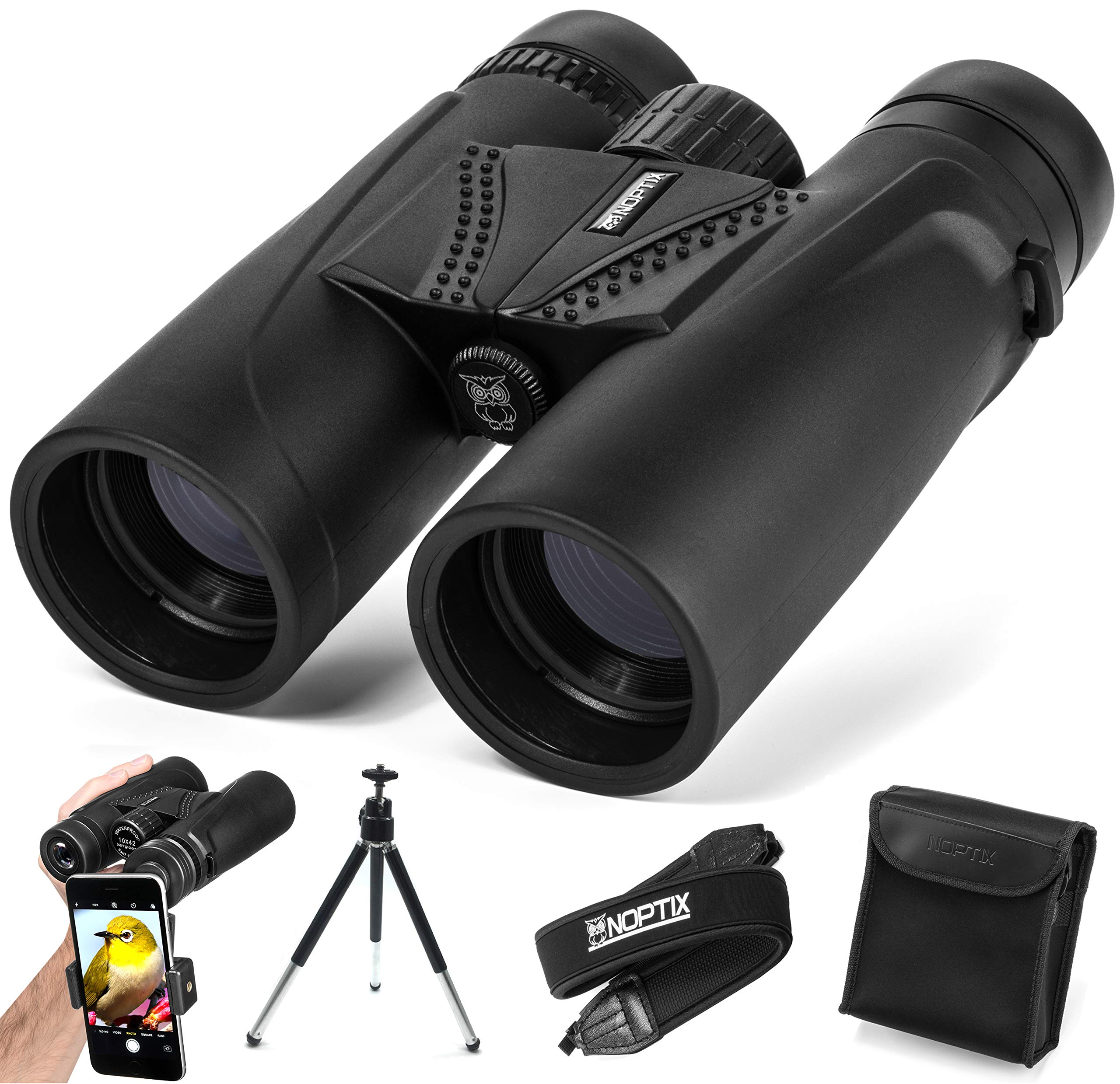 Binoculars 10x42 | Compact and Lightweight | Best for Adults, Bird Watching, Sports Events, Concerts, Safari, or Hunting - Includes Smart Phone Adapter, Tripod, Neck Strap, Case, and Cleaning Cloth by NOPTIX