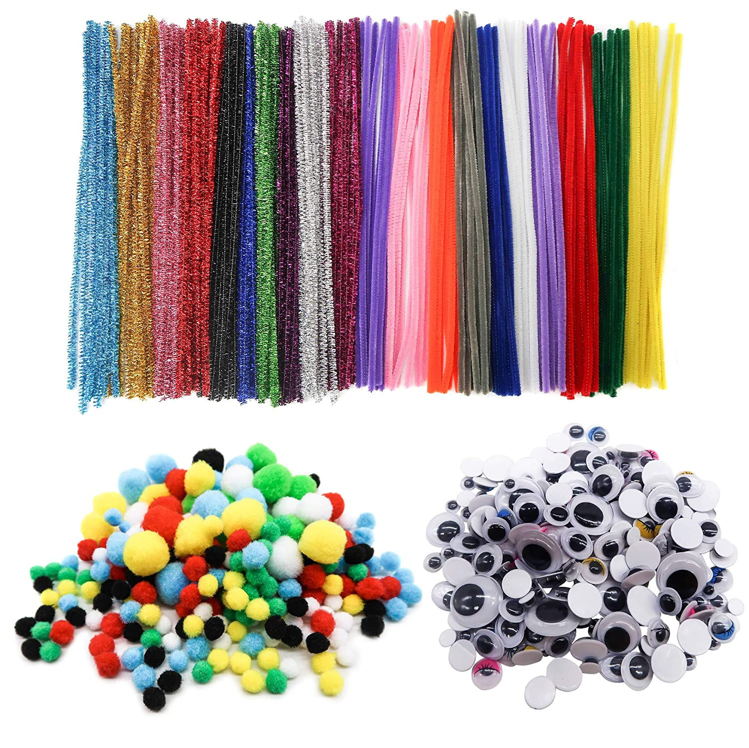 TOAOB 1150 Pieces Mini Pompons Self-Adhesive Wiggle Eyes and Pipe Cleaners Chenille Stems Set for Craft DIY Art Supplies