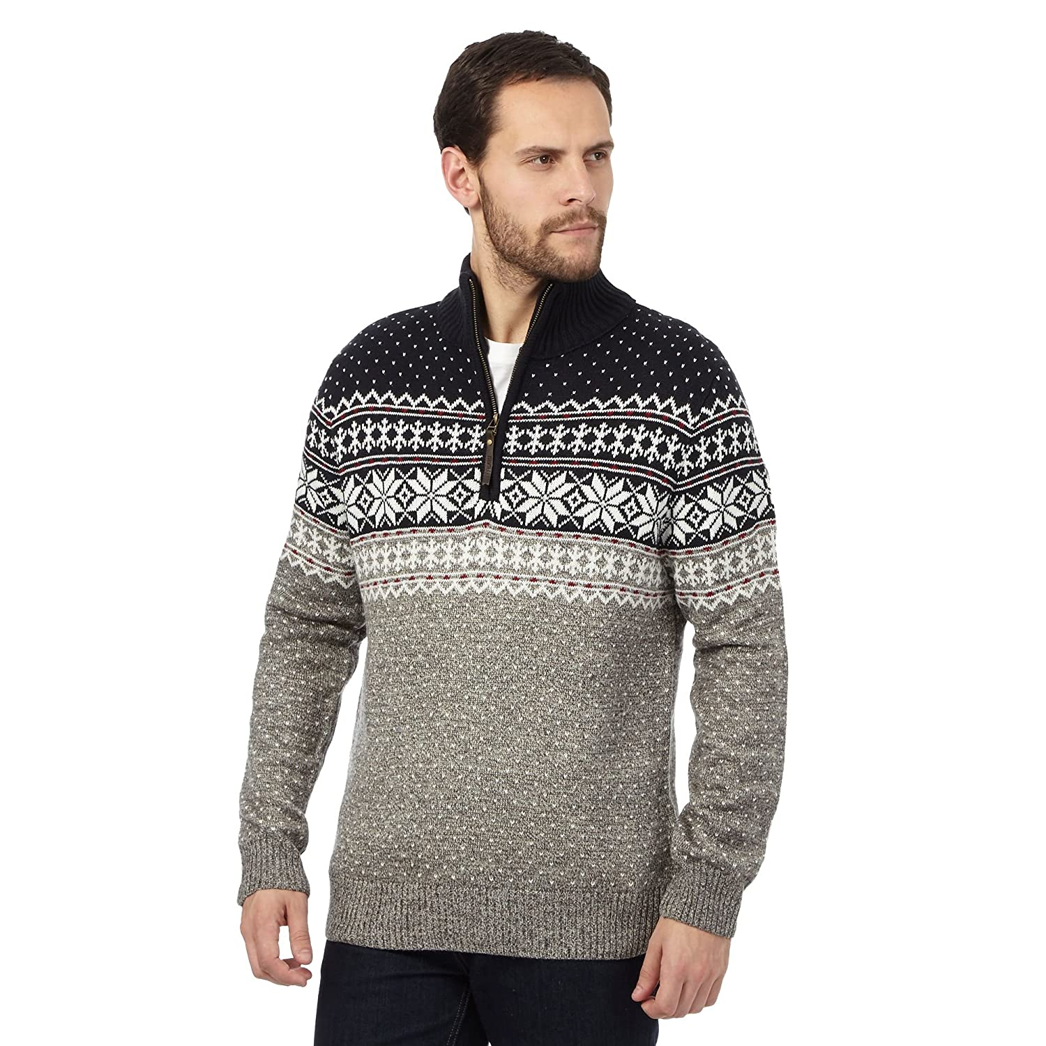 Mantaray Mens Grey Snowflake Patterned Jumper With Wool