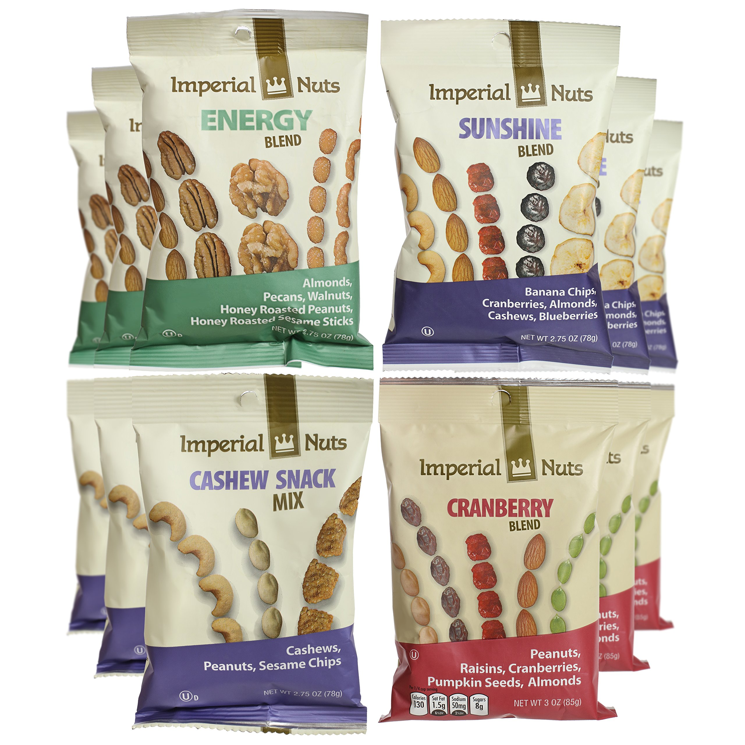 Imperial Nuts Grab & Go Nut Snack Bags (12 PK) Perfect Blend of Fresh Tasty Nuts, Dried Fruits & Seeds