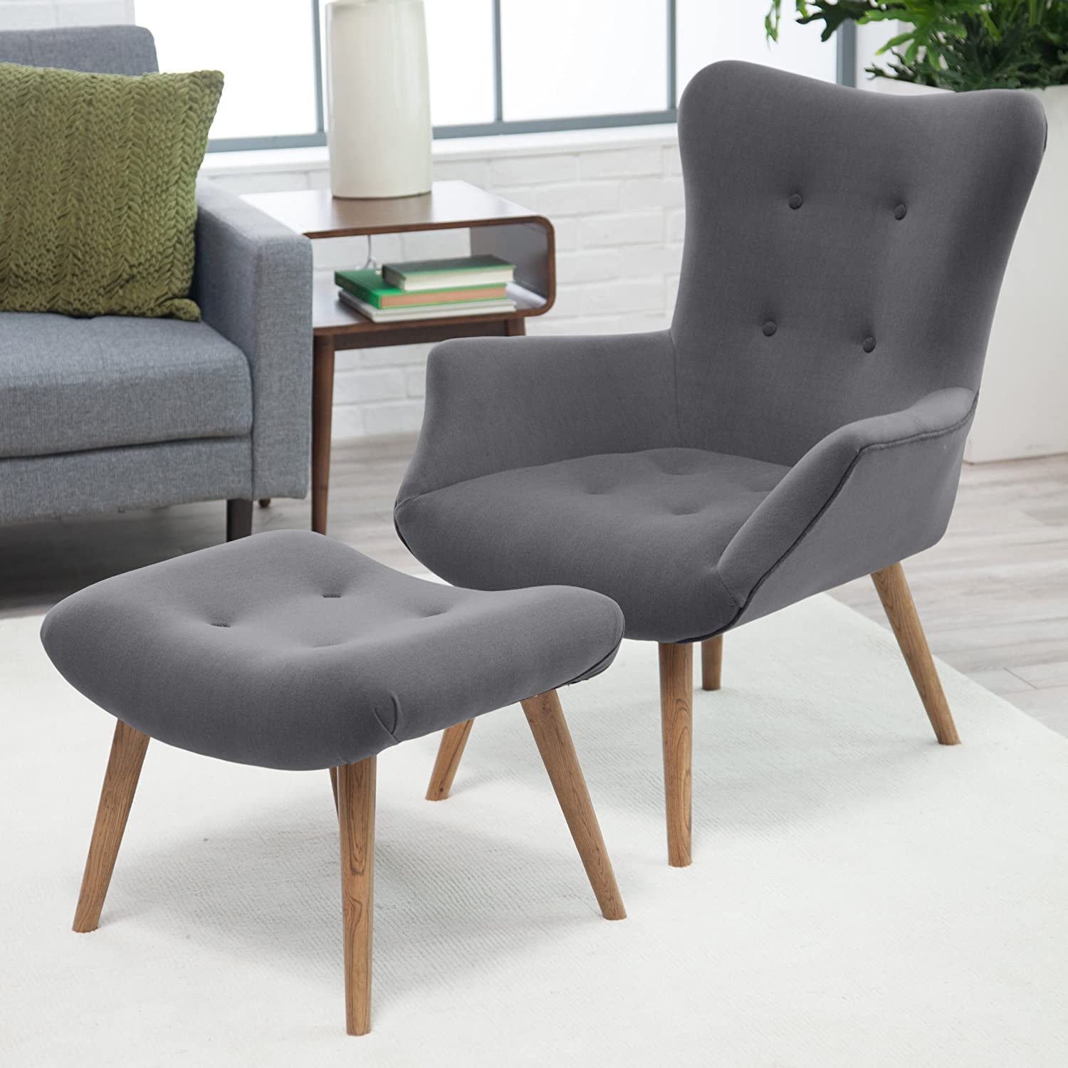 Amazon.com: Belham Living Matthias Mid Century Modern Chair And Ottoman:  Kitchen U0026 Dining