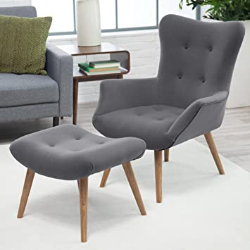 living mid century modern chair ottoman dining chairs canada vintage furniture ebay for sale used