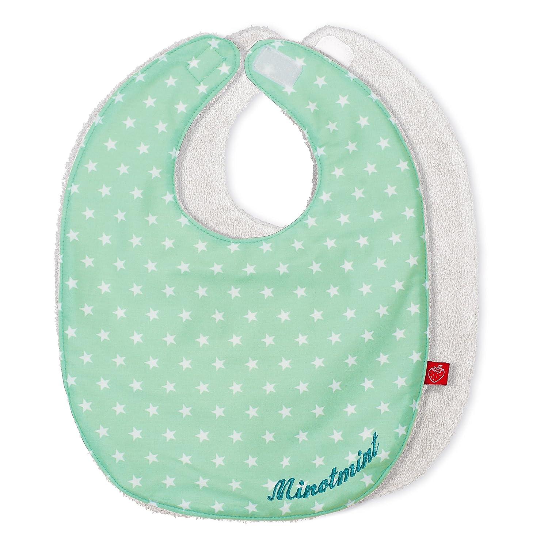 Lätzchen mit Namen Baby Sterne in mint grün (Geburtsgeschenk, Erstaustattung, personalisiert, individualisiert)