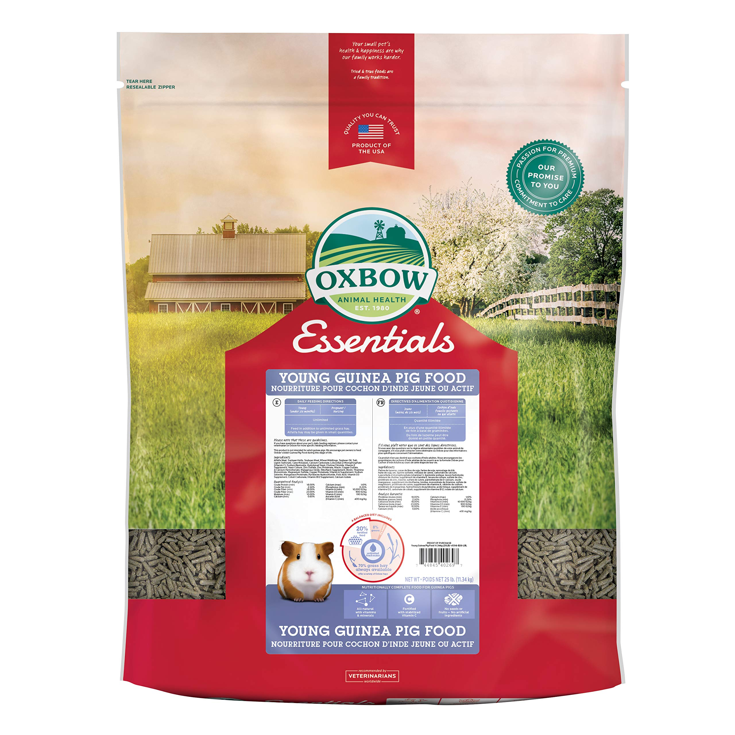 Oxbow Animal Health Cavy Performance Essentials Young Guinea Pig Food, 25-Pound