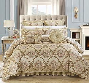Chic Home 9 Piece Aubrey Decorator Upholstery Comforter Set and Pillows Ensemble, Queen, Beige