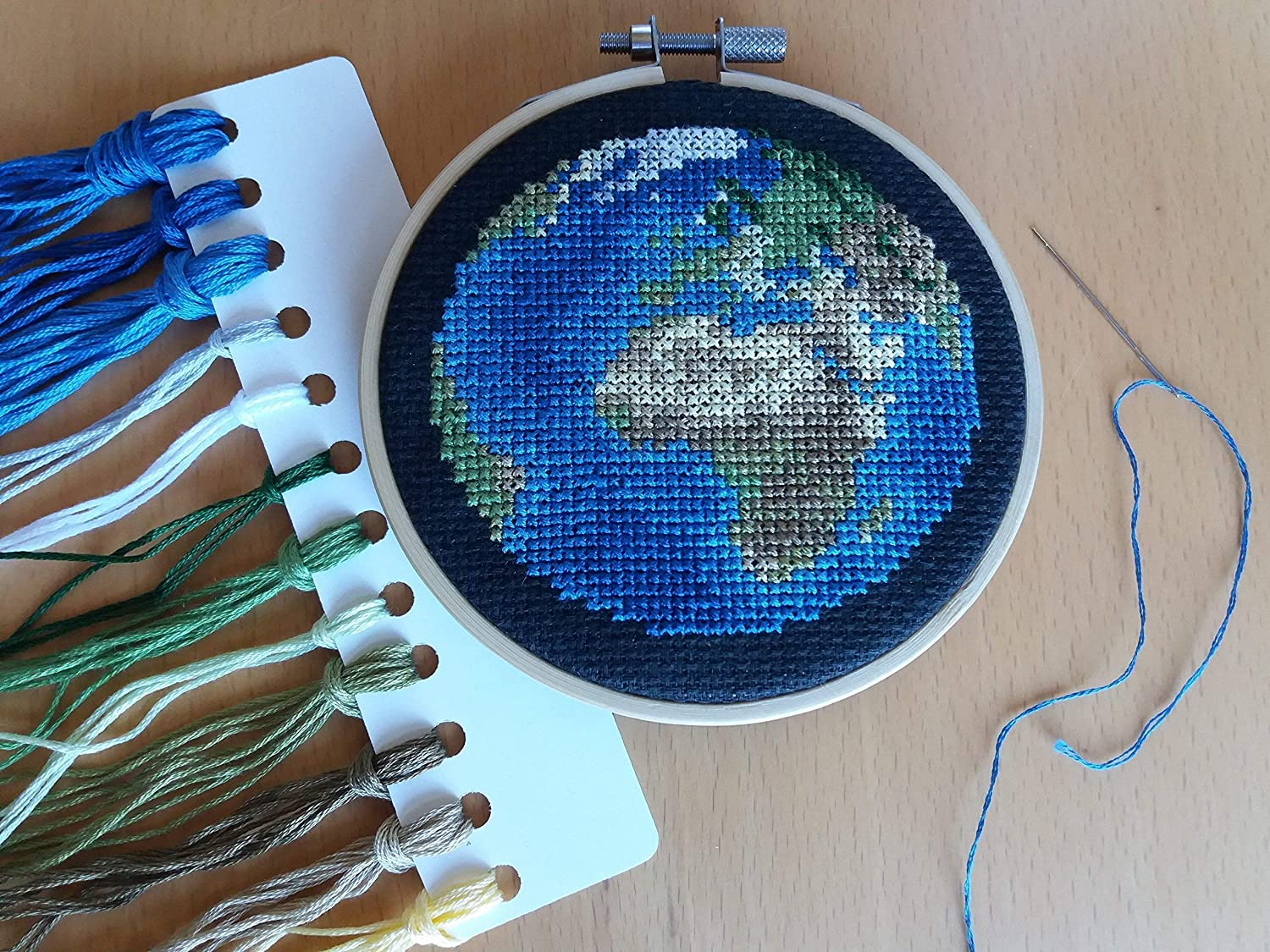 Planet Earth Cross Stitch Kit With Hoop Europe//Africa View Globe Needlework Kit