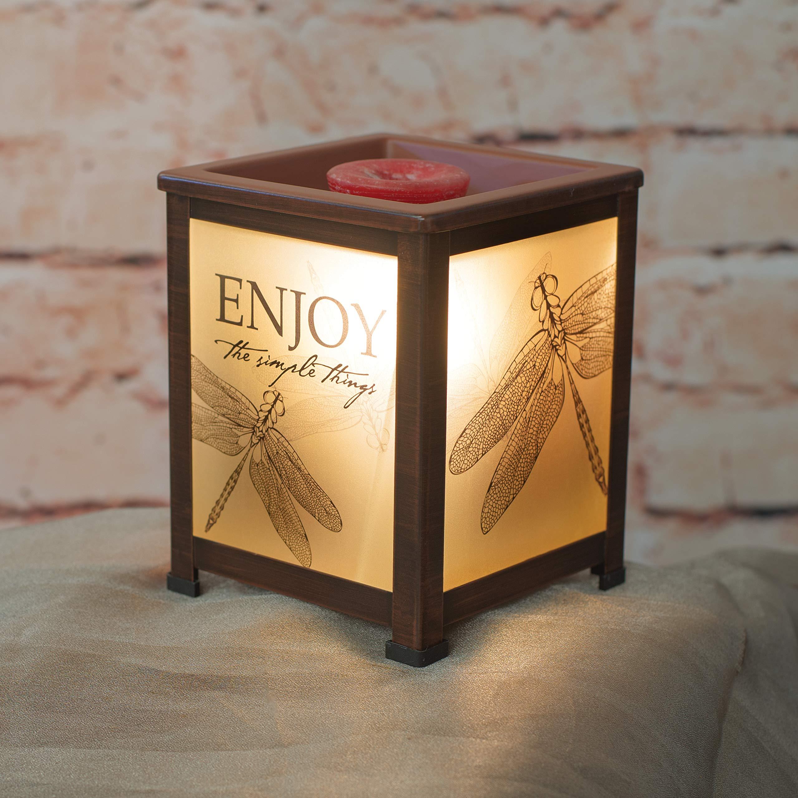 Elanze Designs Enjoy Simple Things Dragonfly Copper Tone Metal Electrical Wax Tart & Oil Glass Lantern Warmer by Elanze Designs (Image #2)