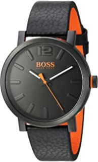 HUGO BOSS Mens Bilbao Stainless Steel Quartz Watch with Leather Strap, Black, 20 (