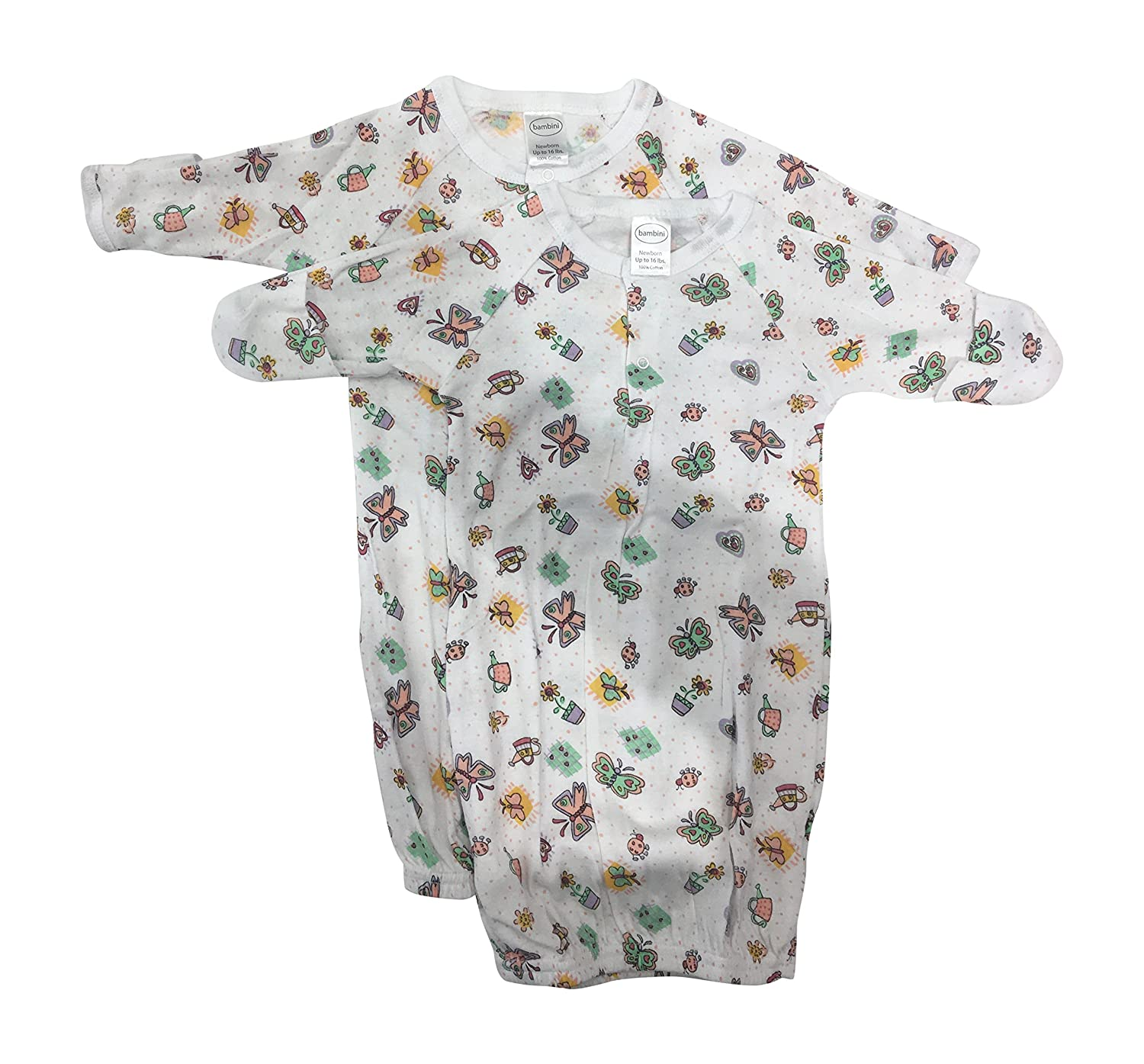 bambini Baby BoysPlay Time Prints 2-Pack Gowns 100% Cotton, Preemie