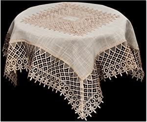 Linens, Art and Things Large Doily Table Topper Dresser Scarf Small Tablecloth Neutral Earth Tones European Lace Beige Lace 36 Square Inch