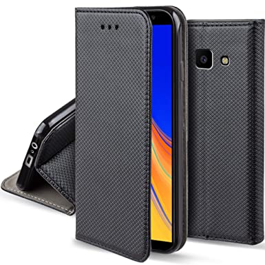 low priced 18b41 738e0 Moozy case Flip cover for Samsung J4+ / J4 Plus, Black - Smart Magnetic  Flip case with folding stand