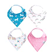 "Baby Bandana Drool Bibs for Drooling and Teething 4 Pack Gift Set for Girls ""Whimsy Set"" by Copper Pearl"