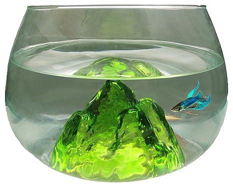 Nicepets Pecera ovalada de vidrio con Volcan azul en su interior 6,5L (verde
