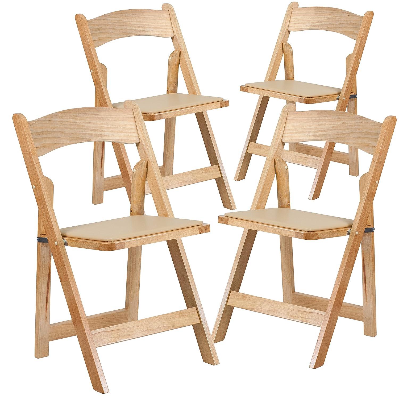 Amazon Flash Furniture 4 Pk HERCULES Series Natural Wood