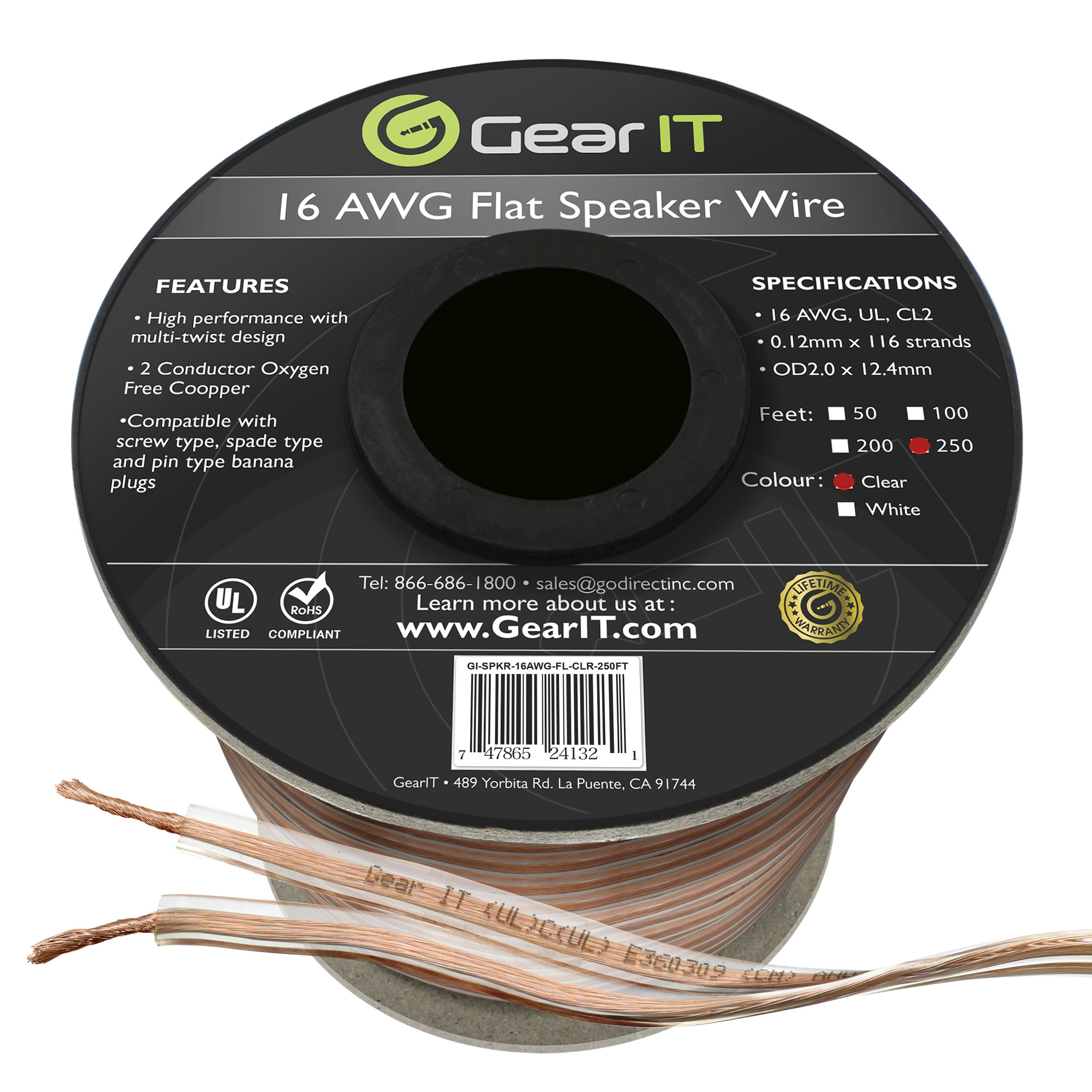 GearIT Elite Series 16AWG Flat Speaker Wire (250 Feet/76 Meters) - Oxygen Free Copper (OFC) CL2 Rated In-Wall Installation for Home Theater, Car Audio, and Outdoor Use, Clear