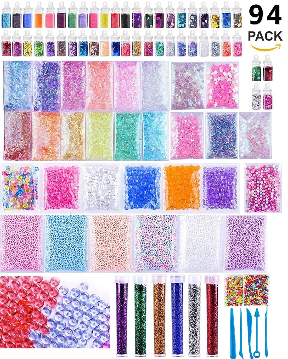 TMO 94 Pack Slime with Charms DIY Slime Supplies Kit Slime Coloring Making Kit Craft Homemade Slime include Fishbowl beads,Foam Balls,Fruit Flower Animal Slices,Pearls and Glitter Jars TeeMocom 4336812288