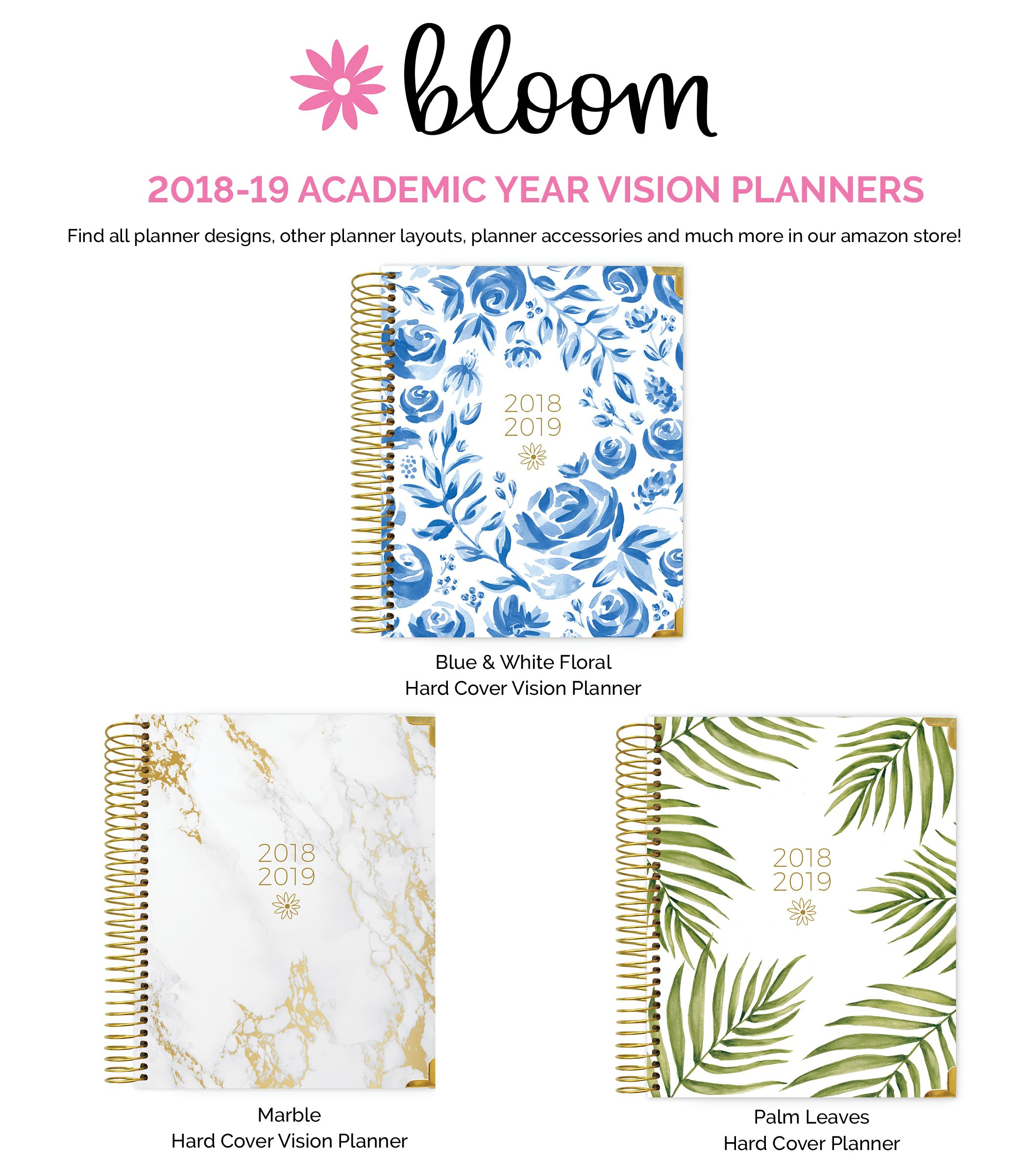 bloom daily planners 2018-2019 academic year hard cover vision planner  weekly column