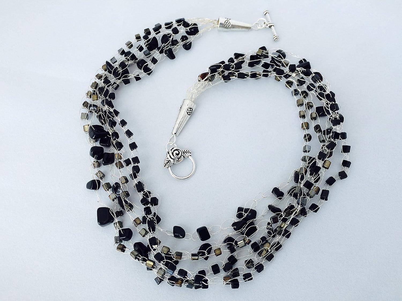 Amazoncom Onyx Jasper Crochet Wire Necklace Handmade
