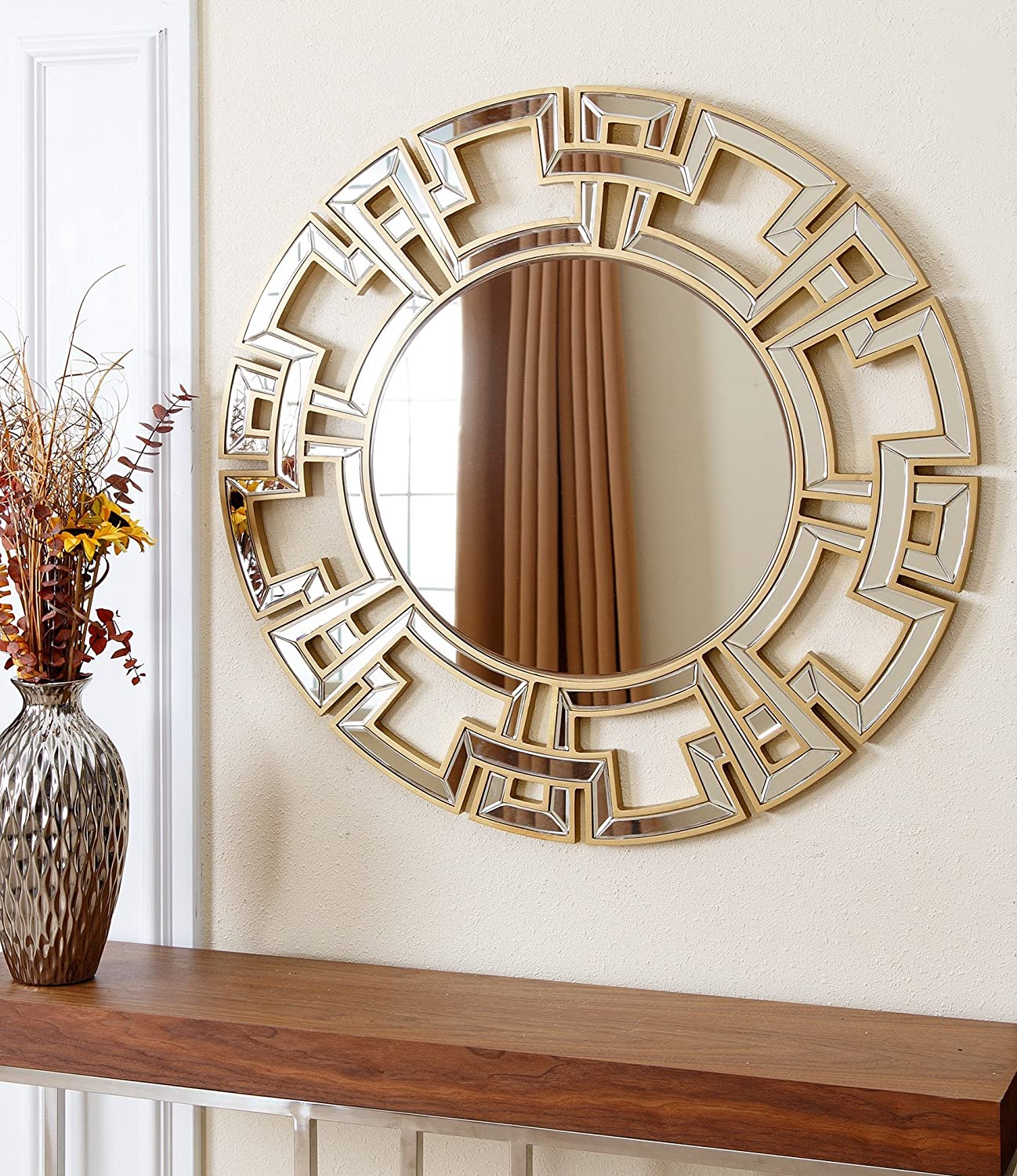 Amazon abbyson zentro round wall mirror gold home kitchen amipublicfo Choice Image