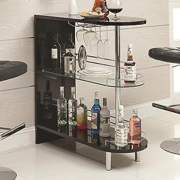 Coaster Gloss Black Contemporary Bar Unit Amazon Co Uk Kitchen Home