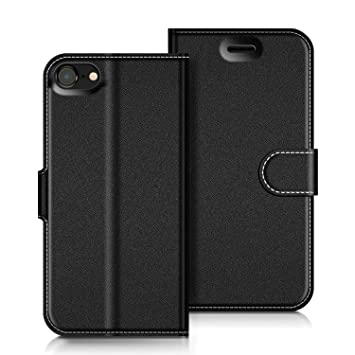 COODIO Funda iPhone 8 con Tapa, Funda Movil iPhone 8, Funda Libro iPhone 7 Carcasa Magnético Funda para iPhone 8 / iPhone 7, Negro