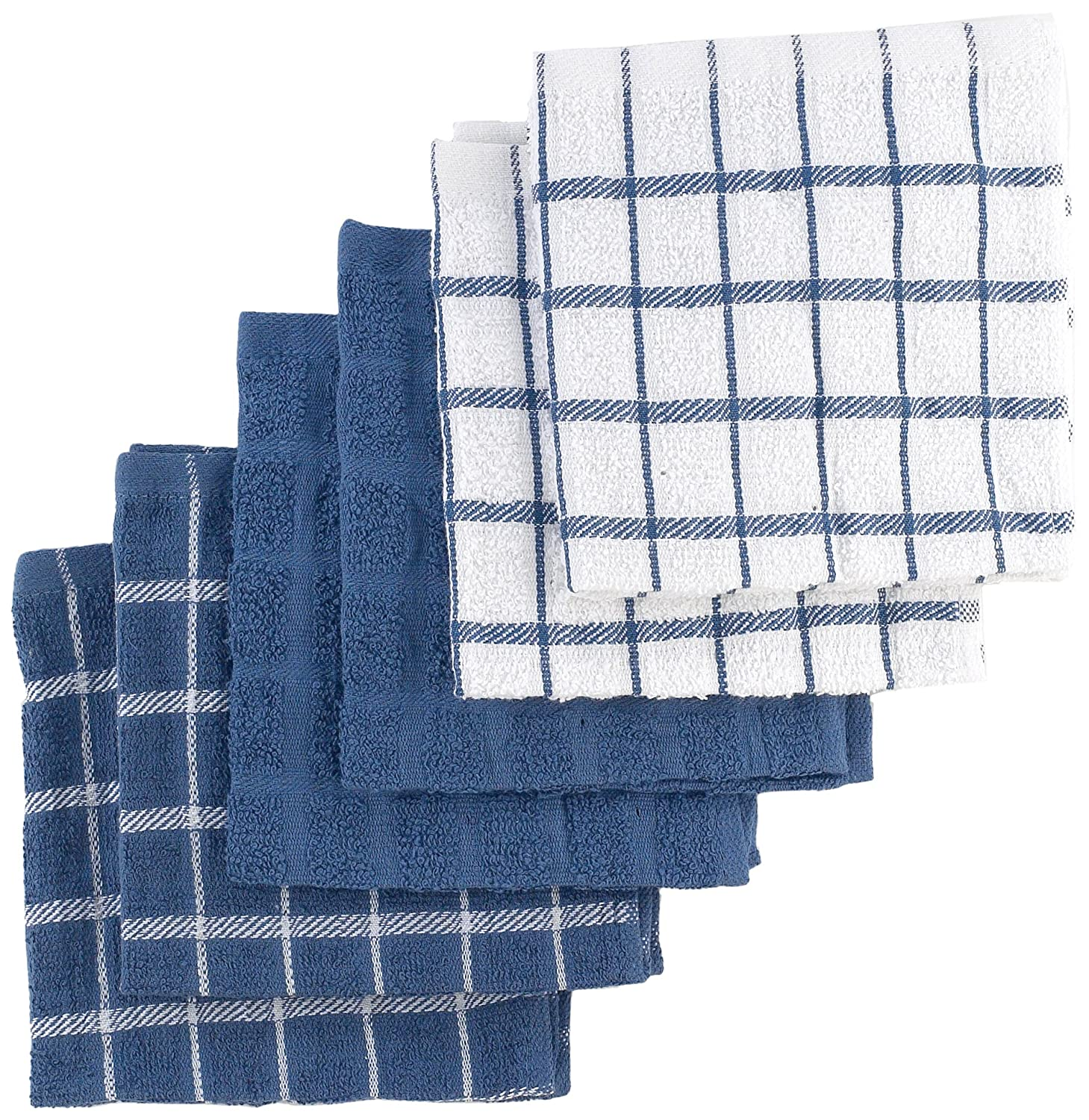 Ritz 100% Cotton Terry Kitchen Dish Towels, Highly Absorbent Dish Cloths,  12u201d X 12u201d, 6 Pack, Federal Blue